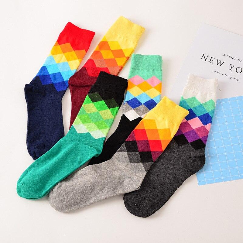 Lattice Funny Happy   Socks   British Style Sub-gradient Women's   Socks   Pure Cotton Longs Sokken Stripe Cotton Chaussette femme Meais