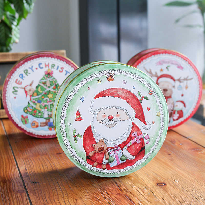 Merry Christmas Tin Box Xmas Santa Claus Elk Tin Gift Package Box Handmade Biscuit Boxes Mooncake Case Kids Christmas Gift Box