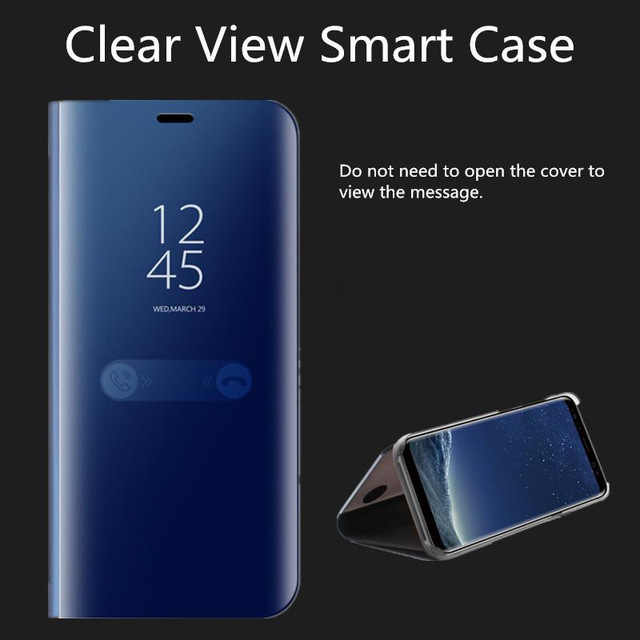 Keezea واضح مرآة الرؤية حقيبة لهاتف سامسونج غالاكسي S9 S8 زائد S7 حافة S6 ملاحظة 8 5 مرآة ذكية الوجه الكامل واقية الذهب تصفيح