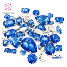 New arrive 50pcs/bag high quality mixed shape light blue glass crystal sew on rhinestones with claw diy clothing accessories