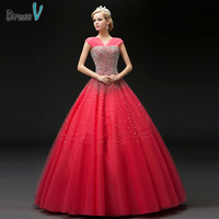 Dressv Sexy V Neck Lace Up Beading Sequins Quinceanera Dress Sleeveless Floor Length Long Ball Gown