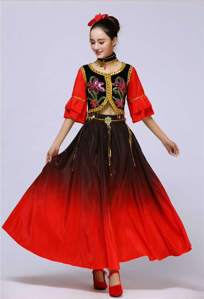 GladiolusA Women Solid Color Belly Dance Long Double Opening Skirt Modern Dance Costume Chiffon Dance Skirts