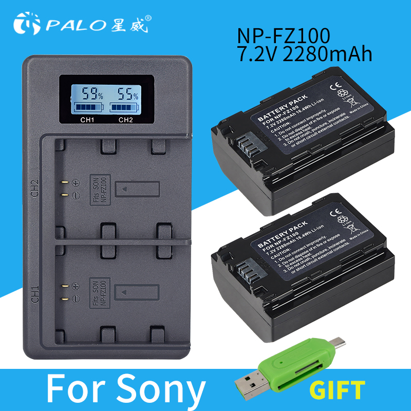 PALO 2pcs 2280mAh NP FZ100 NPFZ100 NP FZ100 Battery LCD Dual USB Charger for Sony NP FZ100 BC QZ1 Sony a9 a7R III a7 III ILCE 9 in Digital Batteries from Consumer Electronics