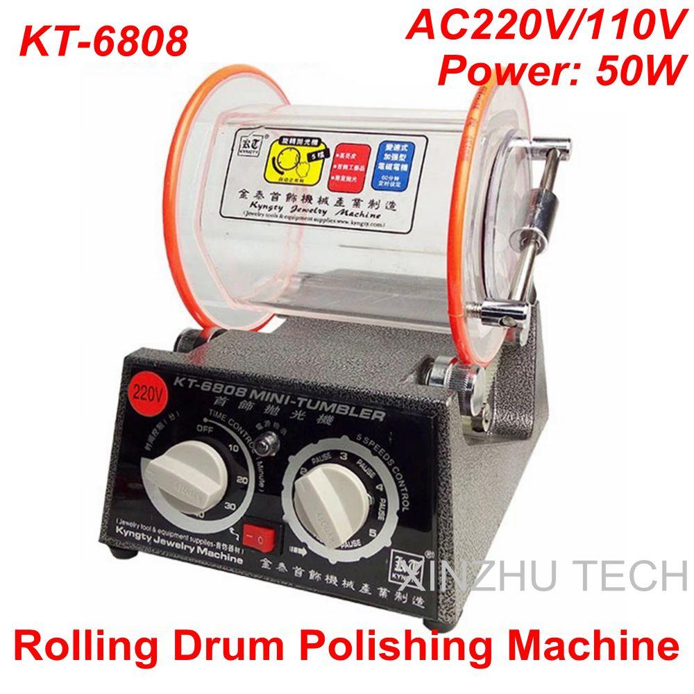 KT 6808 Rolling Drum Polishing Machine Jewelry Vibratory Tumbler Barrel Rotary Tumbling Machine Jewelry Polisher Capacity
