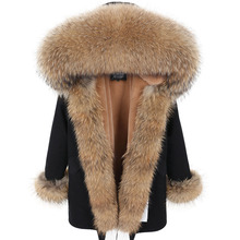 Winter Jacket Women 2019 Long Parka Real Fur Coat Natural Raccoon Fur Collar  3 In 1 Thick Warm Brand Luxury Parkas Outerwear