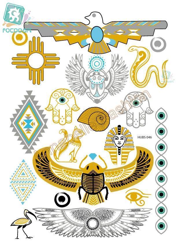 Rocooart HUBS046 Gold Golden Tatuagem Taty Body Art Temporary Tattoo Stickers Metallic Glitter Snake Egypt Totem Tatoo Sticker