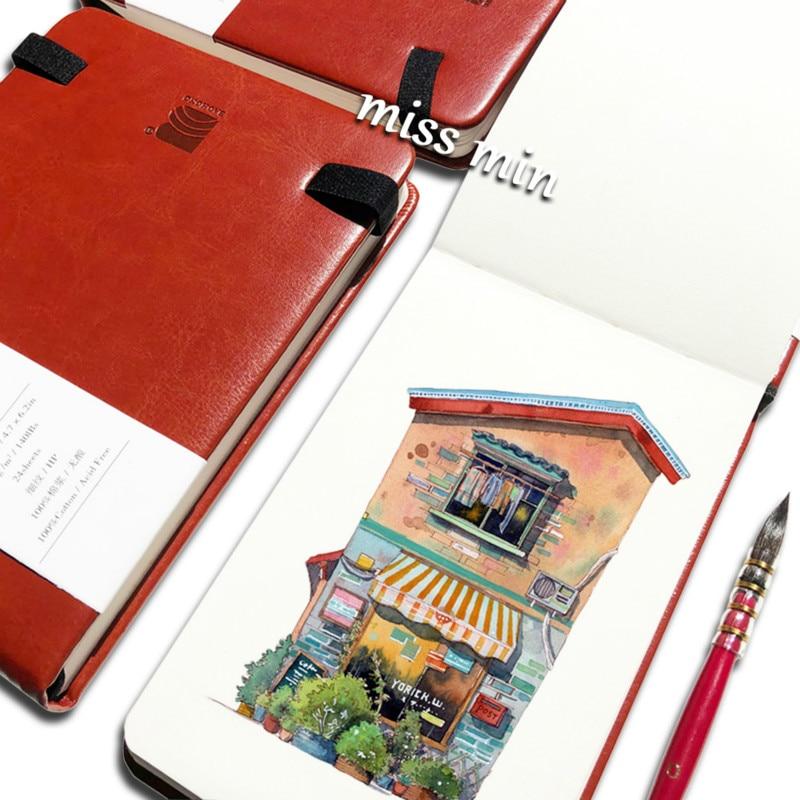 Baohong Cotton Pulp 300g Academic Travel Handbook Watercolor Book Hand-painted Imitated Leather Portable Fine-grain Medium Coars