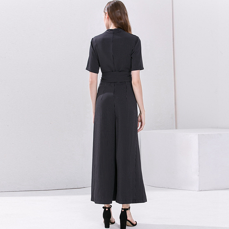 Jumpsuits Women Cross V Neck Short Sleeves Sashes Full Length Wide Leg 100% Polyester Elegant Style Ladies New Fashion 2018