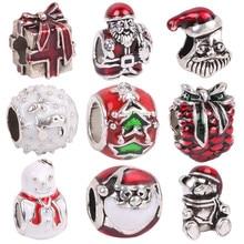 AIFEILI High Quality Style Enamel Crystal Christmas Gift Bead Charms Fits Pandora Bracelets For Women Jewelry Wholesale