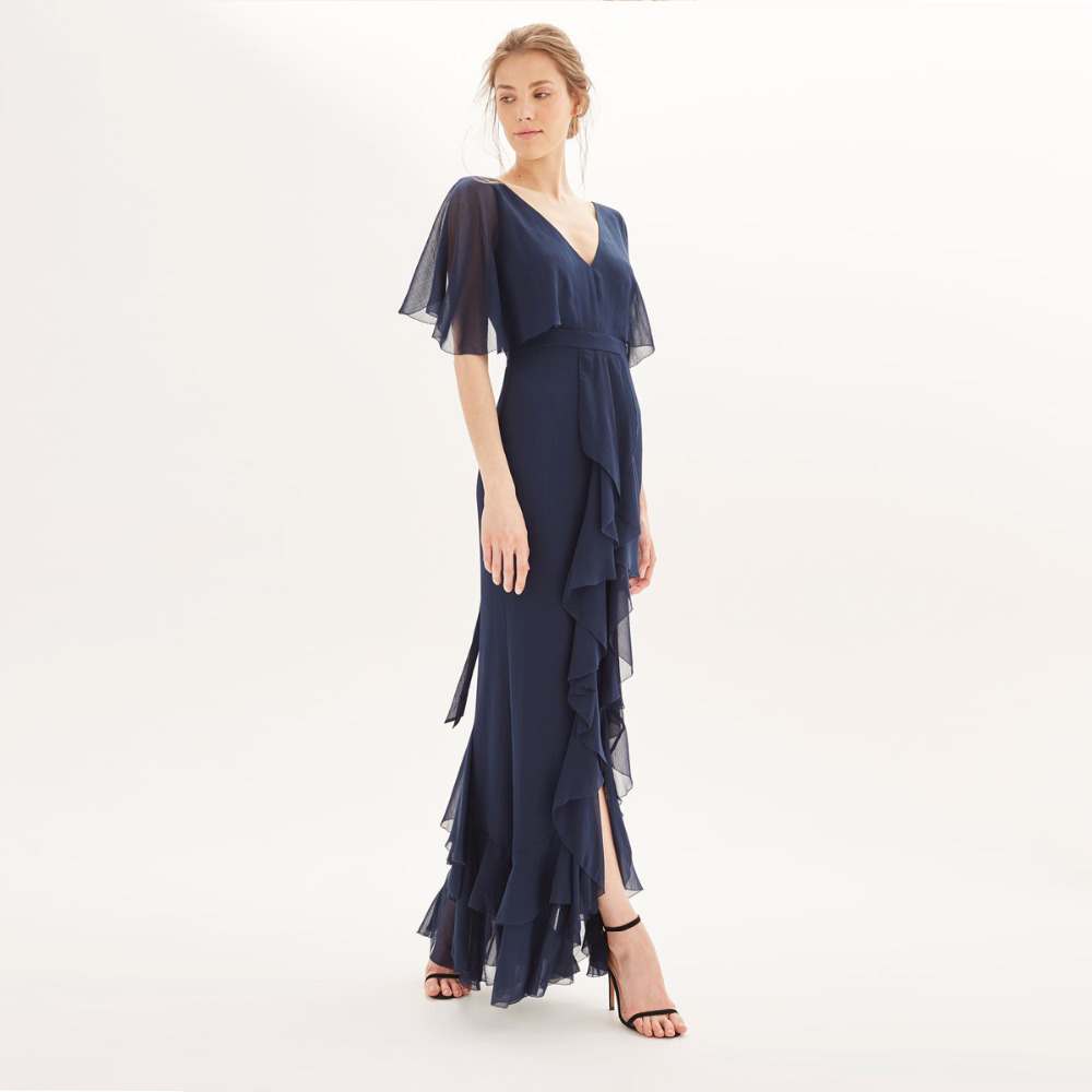 Blue flutter sleeve bow tie high waist tiered ruffle hem maxi dress for women ladies elegant V neck see through party dresses