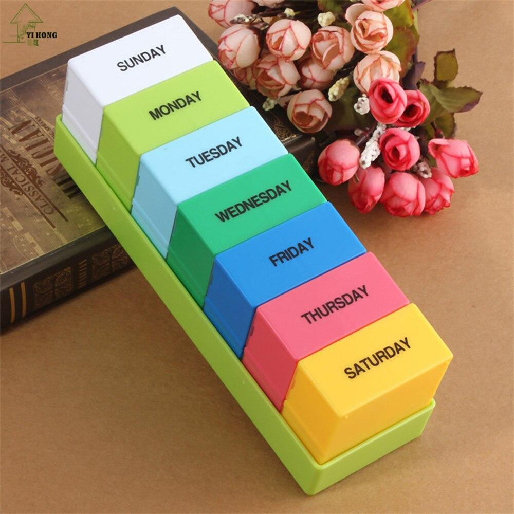YI HONG Новый Бренд Мини Неделя 7 Дней Медицина Таблетку Препарата Хранения Box Дело Pillbox Контейнер A1086b