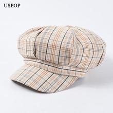 USPOP 2019 New adjustable newsboy caps for women vintage plaid striped octagonal hats soft visor