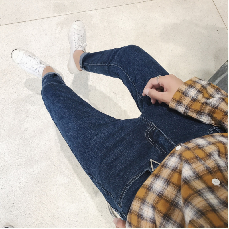 2018 New Mens Fashion Personality Washed Simple Solid Color Casual Button Loose Large Size Youth Regular Jeans Tide Foot