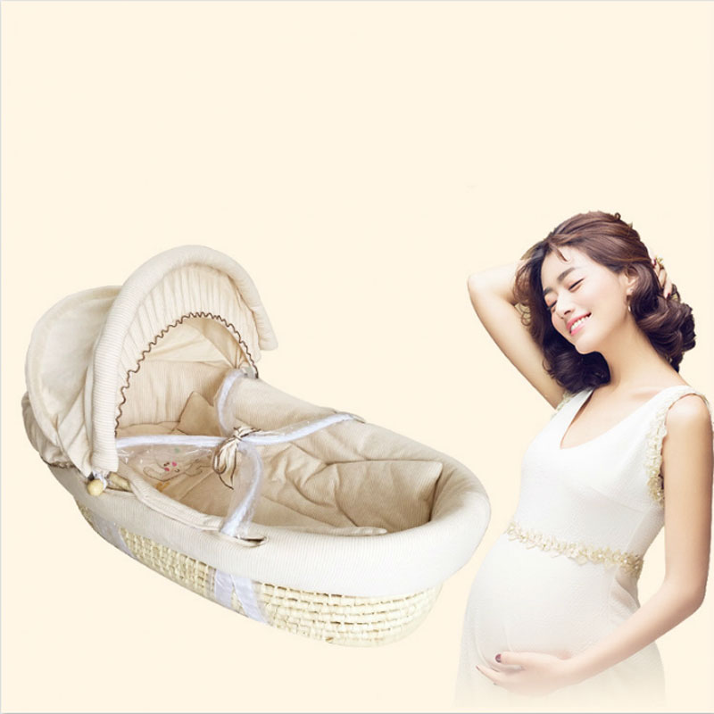 Multi-function portable crib bb bed baby basket baskets corn bran basket weaving cotton sleeping car cradle newborns 0-6 months baby cradle portable car safety basket multi function coax sleeping basket with mosquito net discharge cart