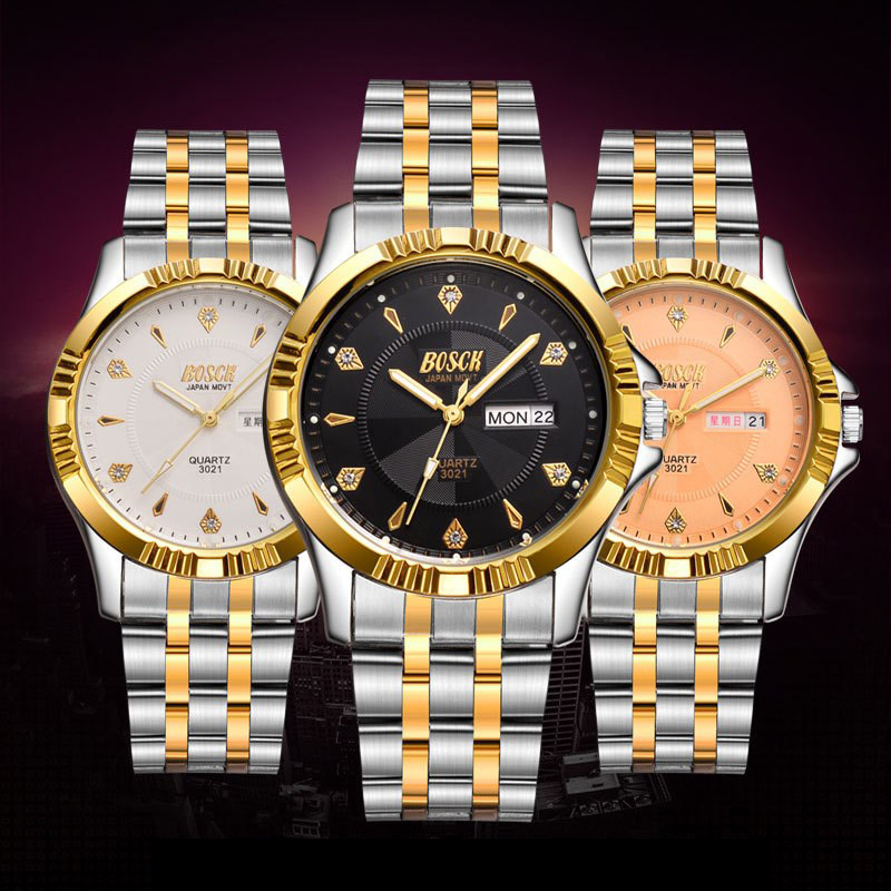 2017 BOSCK Brand Men Watch Date Day Stainless Steel Hours Clock Dress Fashion Casual Quartz Watches Sport Wristwatch new arrival 2015 brand quartz men casual watches v6 wristwatch stainless steel clock fashion hours affordable gift