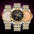 2017 bosck marca reloj de los hombres fecha día hora de acero inoxidable reloj de vestir moda casual cuarzo relojes de pulsera del deporte