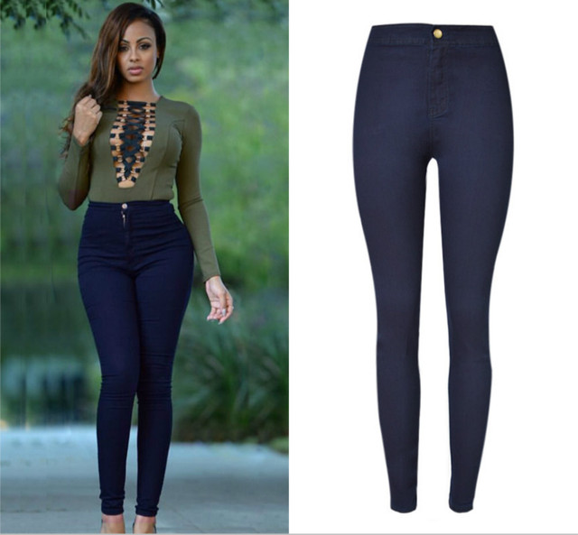 27a09a653e4 2019 Sexy Blue Skinny Jeans Woman Europe America High Waist Pantalon Femme  Elasticity Push Up Denim