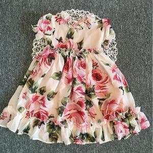 Image 3 - Letni kwiat dziewczyna Tutu róża jedwab 3D sukienka dzieci księżniczka sukienka ze sztucznego jedwabiu wesele urodziny dziecka dziewczyna sukienka z nadrukiem dla dziecka