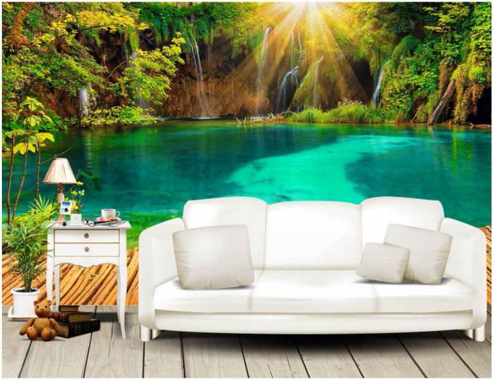 Custom photo 3d wallpaper The green forest of sunshine lake pier decoration painting 3d wall mural wallpaper for living room the custom of the country