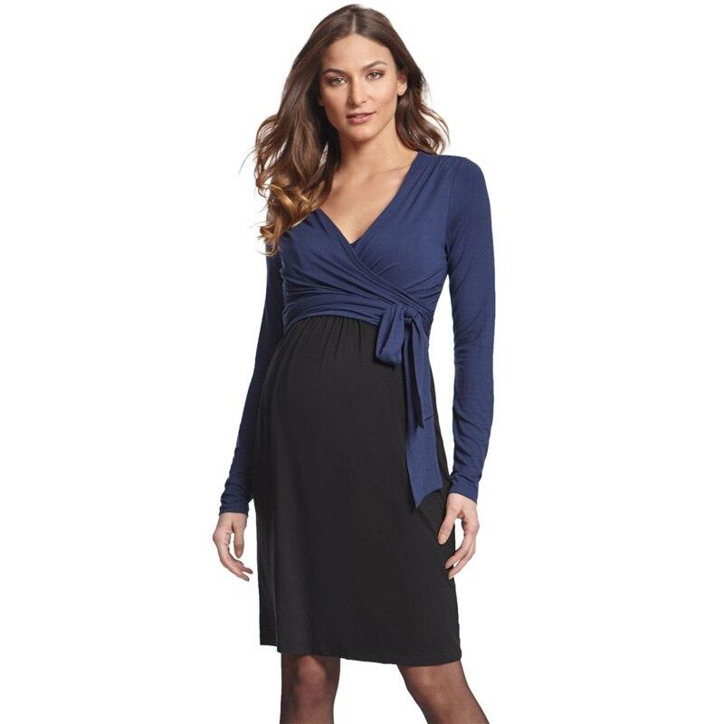 Рождественская грудь Одежда для кормления для беременных женщин v-образный вырез с длинным рукавом весеннее элегантное платье одежда для к...