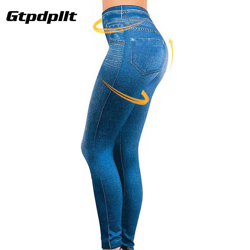 Gtpdpllt S-XXL Women Fleece Lined Winter Jegging Jeans Genie Slim Fashion Jeggings Leggings 2 Real Pockets Woman Fitness Pants(China)