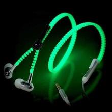 2016 High Quality Zipper Glowing Headphones Luminous Light Earphones Metal In Ear Earphone Headphone Glow In The Dark 4 Colors