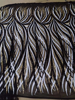gold black white sequins mixed lace fabric H-1971018 with sequins beautiful Nigerian sequins lace fabric for party dress