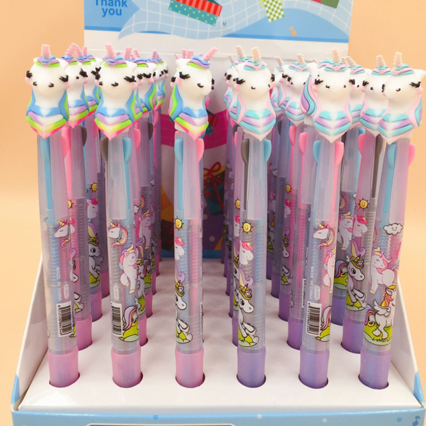 Image 4 - 30pcs/lot Lovely cartoon 3 In 1 Multi Color Writing ballpoint pen students black office signature pen Stationery for office-in Ballpoint Pens from Office & School Supplies