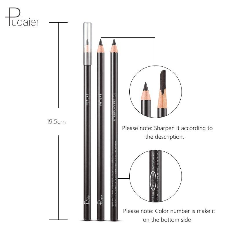 Pudaier Wooden Eyebrow Pencil Makeup Tools Waterproof Long Lasting Easy to Wear Light Brown Black Grey Eye Brow Pencil in Eyebrow Enhancers from Beauty Health