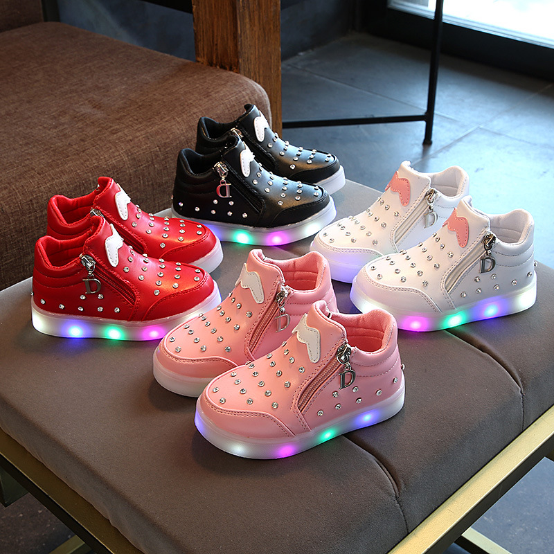 LED colorful lighting baby shoes high quality diamond winter baby boots Cute girls boys sneakers toddlers Patch first walkers