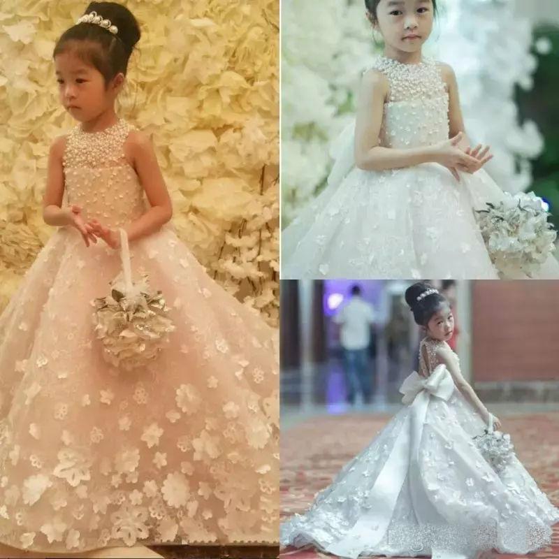 Cute Handmade   Flower     Girl     Dresses   Bow Belt Bead Princess Kids Floor Length   Girls   Pageant Gowns