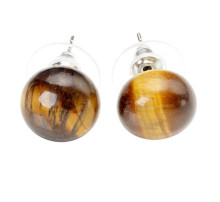 FYJS Unique Silver Plated Bread Shape Natural Tiger Eye Stone Stud Earrings Attractive Design Jewelry цена и фото