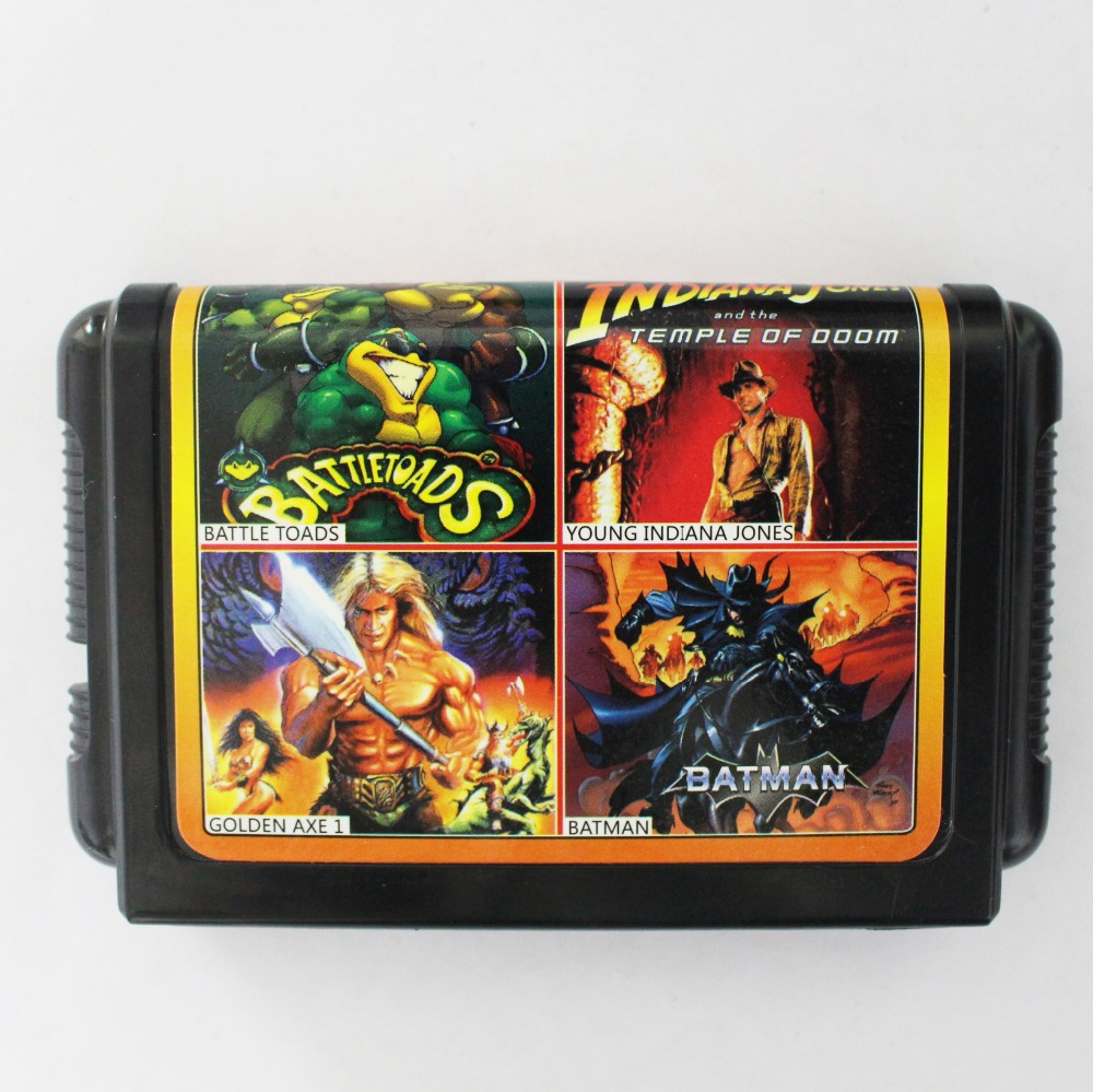 Hot Selling 4 In 1 No Repeated 16 bit Sega MD Game Card For NTSC systems