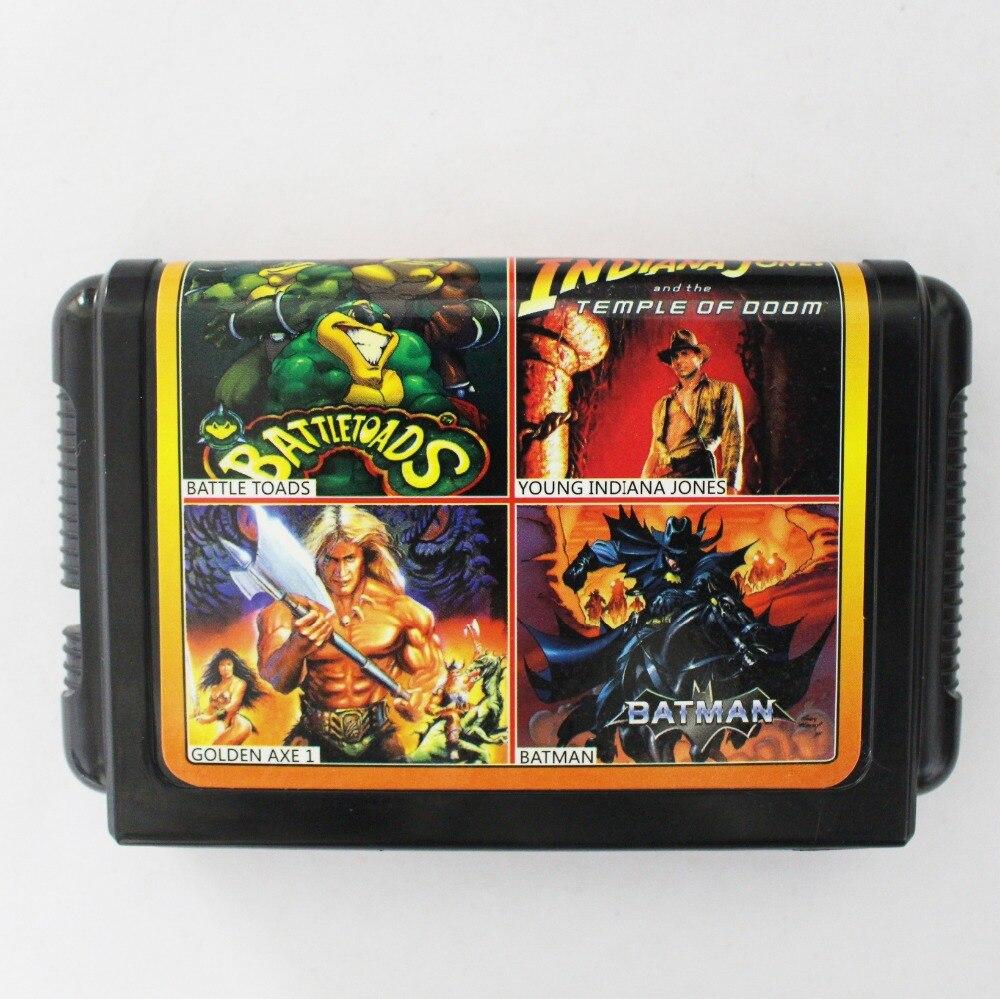 Vente chaude 4 En 1 Pas Répété 16 bits Sega MD Carte De Jeu Pour NTSC systèmes