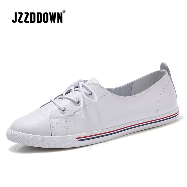 2a20d25f2ea US $20.24 56% OFF|Women ballet flats shoes white sneakers Genuine leather  ladies Canvas Vulcanize casual Boat shoe Lace up loafers Footwear Spring-in  ...