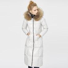 YNZZU бренд женские зимние пуховики Новые длинные толстые из натурального меха енота воротник с капюшоном Роскошные теплые женские зимние куртки AO295