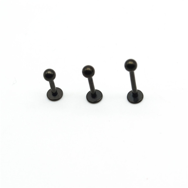 Black Labret Ring Lip Stud Bar Surgical Steel 16 Gauge Popular Body Jewelry Cartiliage Tragus Monroe Piercing Chin Helix Wholesa