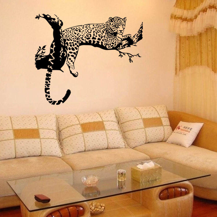 Black White Tiger On The Tree Wall Stickers For Kids Rooms ...