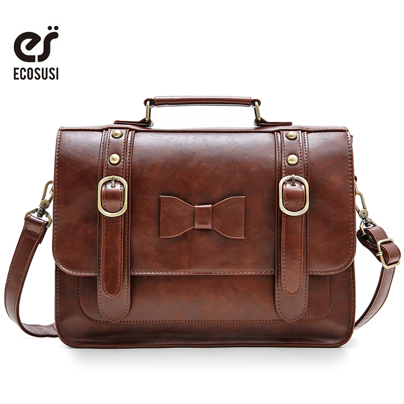 ECOSUSI 13.2 Inch Retro Women Messenger Bag PU Leather Bags Women Crossbody Bags Luxury Brand Bags Ladies Shoulder Bow Handbags