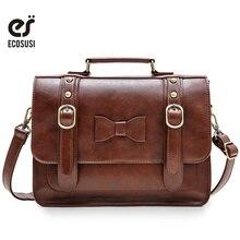 ECOSUSI New Leather Handbag Vintage Women Messenger Bag Crossbody Satchel Briefcase Bowknot Bolsas Femininas Messenger Bags