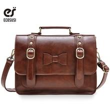 New Ecosusi Vintage Leather Women Messenger Bag Crossbody Satchel Briefcase Bowknot Bolsas Femininas Messenger Bags