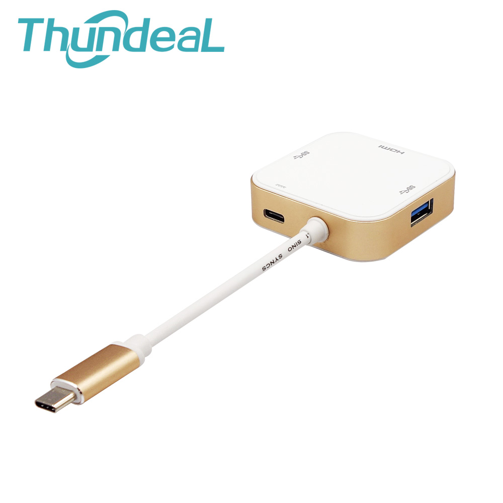 Aluminum USB C Type C female USB Female Data Charger to HDMI USB Multiport Adapter For