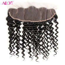 ALot Hair Brazilian Deep Wave Lace Frontal Closure 13×4 Ear To Ear Human Hair Frontal With Baby Hair Free Part Closure Non Remy