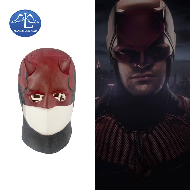 MANLUYUNXIAO Daredevil Masks Marvel Toys Movie Cosplay Collectible ToysCostume Prop Men's Latex Party Mask for Halloween