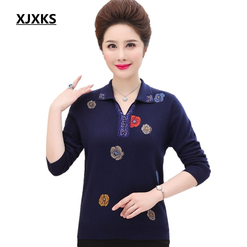 XJXKS women winter tops long sleeve turn down collar pullover sweaters mother clothing print casual woman