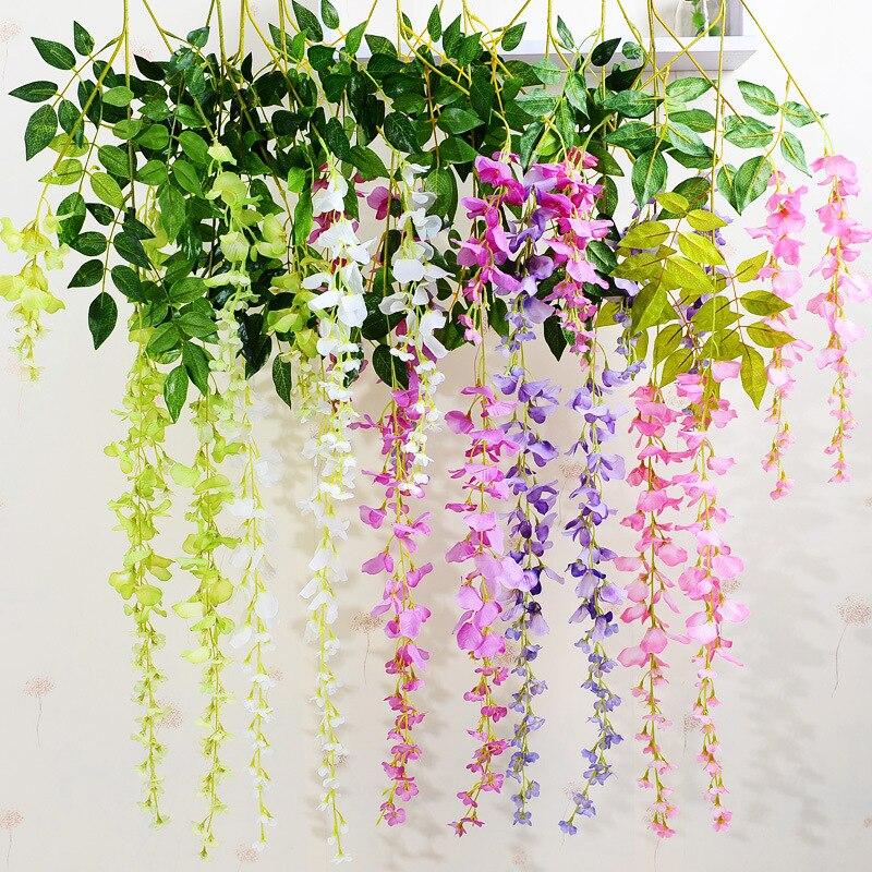 1 UNID Wisteria Vid de Ratán Artificial Planta Flor Arreglo Floral De Seda Dormi
