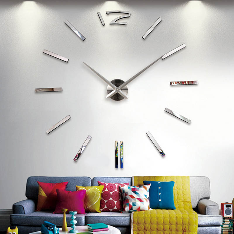 modern art wall clock acrylic 3d real big wall clock mirror sticker diy living room home