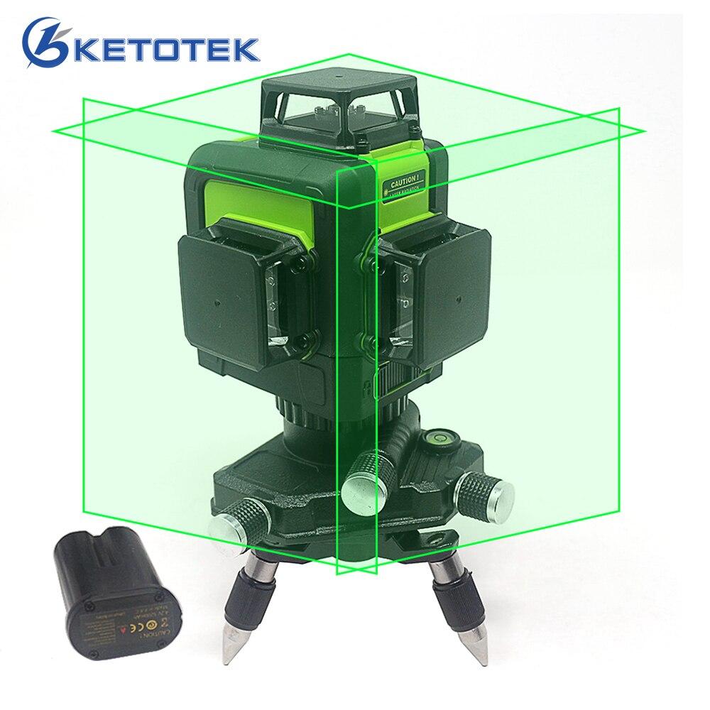 3D лазерный уровень 12 линий США/ЕС Plug наливные 360 Горизонтальные и вертикальные зеленый лазерный луч линии Перезаряжаемые батарея импульсны...