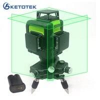 3D лазерный уровень 12 линий США/ЕС Plug наливные 360 Горизонтальные и вертикальные зеленый лазерный луч линии Перезаряжаемые батарея импульсны