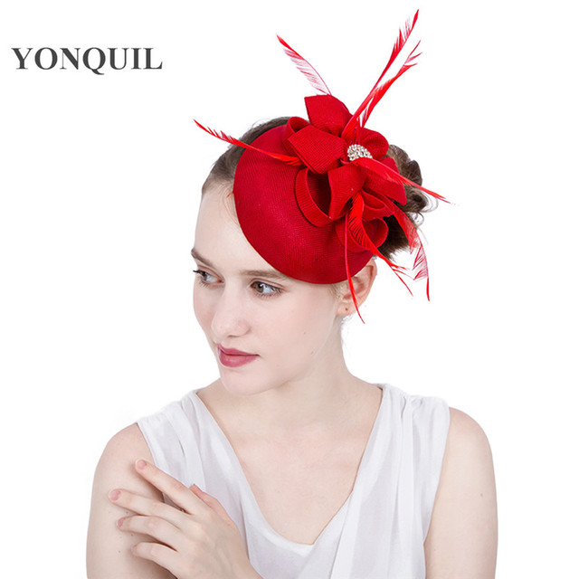 d2a0bfa0f80 New Design feather ladies red fascinator hat Imitation sinamay DIY  millinery wedding fascinator headband church headpiece SYF119